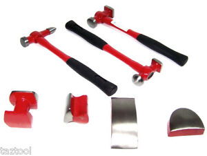 7pc Heavy Duty Auto Body Dent Repair Hammer Dolly Automotive Body Repair To