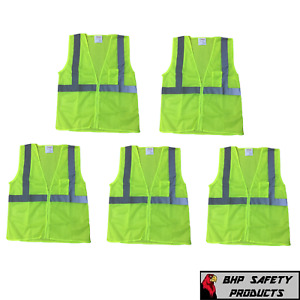 Neon Yellow Safety Vest W Reflective Strips Size Large 5 Pack Traffic Vests