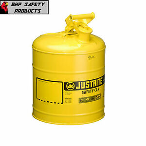 Justrite 5 Gallon Type 1 Flammable Storage Safety Diesel Gas Can Yellow 7150200