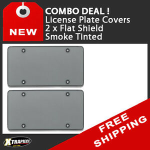 Combo 2 X Flat Shield License Plate Cover Smoke Tinted Polycarbonate
