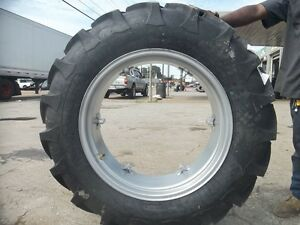 Two 12 4x28 12 4 28 8 Ply International B275 Tractor Tires On 6 Loop Wheels