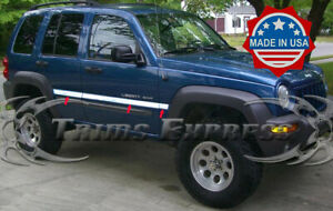 Fit 2002 2007 Jeep Liberty Stainless Rocker Panel Trim Body Side Molding 2