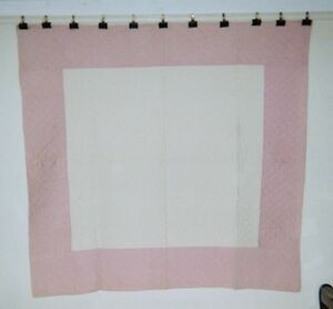Pink White Center Square Quilt C 1900 62 X 64 Ohio Mennonite Cottons