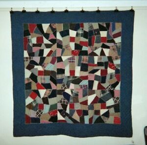 Amish Mennonite Crazy Quilt 66 X 66 C 1900 20 Pa Wools Cottons