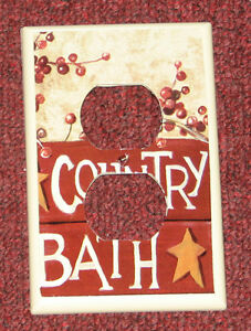 Primitive Country Bath Outlet Receptacle Wall Cover For Two Plugs