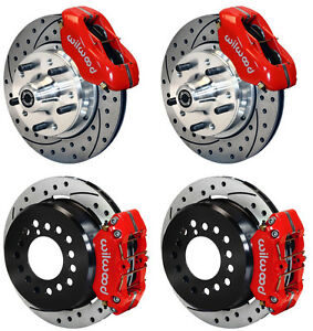 Wilwood Disc Brake Kit 64 74 Gm 11 Drilled Rotors 4 Piston Red Calipers