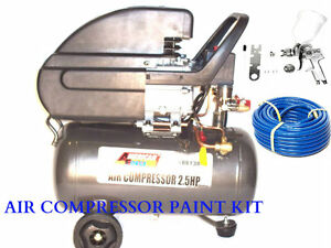 Air Compressor 6 Gallon Hvlp Spray Gun1 4 50ft Air Hose Quick Air Fittings