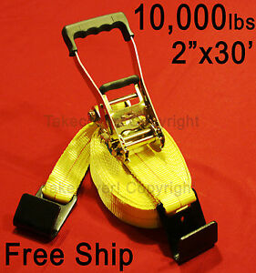 Free Ship 2 X 30 10 000 Lbs Ratchet Tie Down Strap Flat Hooks Fh Flatbed Truck
