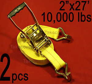 Two 2 Free Ship 2 X 27 Ratchet Tie Down Strap W Wire Hook Ends Towing Wh