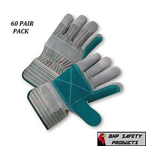 60 Pair West Chester Double Palm Split Leather Work Glove Size Large 500dp