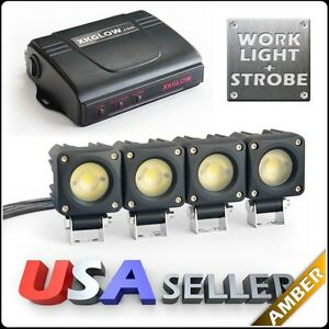 Amber 4x750lm Led Work Light Kit 4 Mode Control Box Solid On Strobe 2 Zone