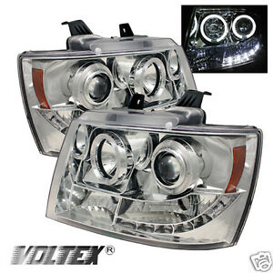 2007 2012 Chevy Tahoe Avalanche Halo Led Projector Headlights Lightbar Chrome