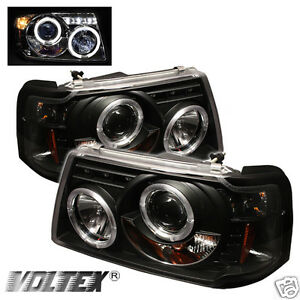 2001 2008 Ford Ranger Halo Led Projector Headlights Lightbar Light Bar Black