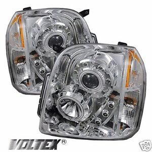 2007 2012 Gmc Yukon Denali Xl Halo Led Projector Headlights Lightbar Chrome
