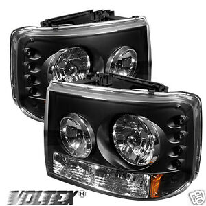 1999 2002 Chevy Silverado 1500 2500 3500 Led Crystal Headlights Lightbar Black