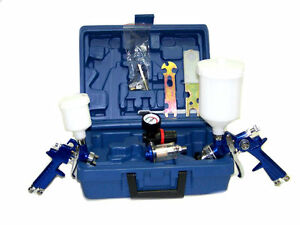 2 Hvlp Air Spray Paint Gun 1 4mm Air Touch Up Gun 1 0mm Painting Tool Kit
