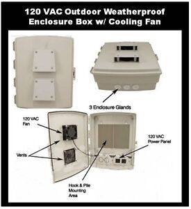 Enclosure With Cooling Fan 120 Vac Outdoor Cabinet Box Weatherproof Waterproof