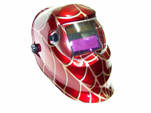 Red Spider Web Auto Darkening Welding Helmet Solar Arc Mig Mag Welder Mask
