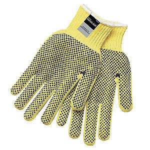 Memphis 9366 Dupont Kevlar Yelow 2 sided Pvc Dots Safety Gloves Size M 12 Pair