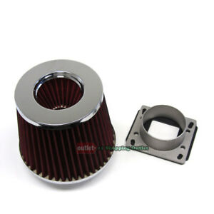Maf Mass Air Sensor Adapter Red Intake Filter For Toyota 84 97 Corolla Dohc Ae