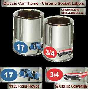 Classic Car Limited Edition Chrome Foil Socket Label Set Easy Read 90 Pieces