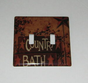 Primitive Country Bath Switch Plate Double Switchplate