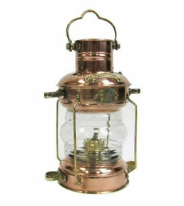 Ship S Anchor Lantern Oil Lamp Copper Brass 13 5 Fresnel Lens Nautical Decor