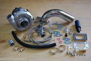 T3 t4 turbocharger kit t3 t4 turbo downpipe bov braided stainless feed drain new