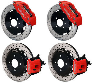 Wilwood Disc Brake Kit honda Civic 10736 10209 12 Drilled Rotors red 6 Piston F