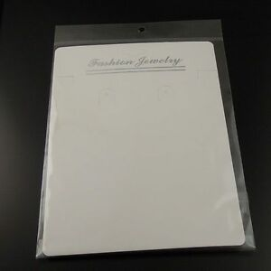 White Paper Jewelry Case Necklace Display Hanging Card With Bag 26 5 15cm 50pcs