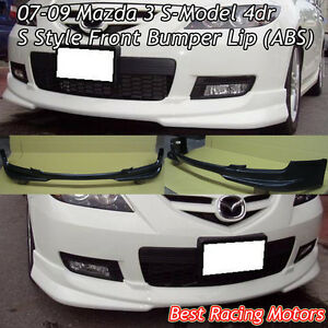 S Style Front Bumper Lip abs Fits 07 09 Mazda 3 4dr S model