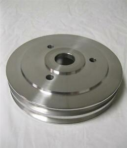 Big Block Chevy Polished Aluminum 2 Double Groove Crankshaft Pulley Bbc 396 Swp