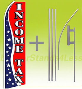 Income Tax Swooper Feather Flutter Banner Sign Flag 15 Tall Kit Usa3q