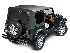 1988 1995 Jeep Wrangler Half Door Soft Top Canvas Top Rear Tinted Window Black