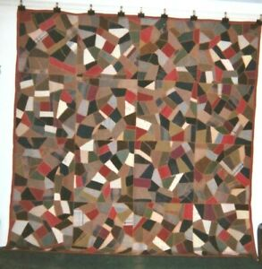 Handsome Dress Wools Abstract Crazy Quilt 78 X 78 C 1880s Mennonite Pa