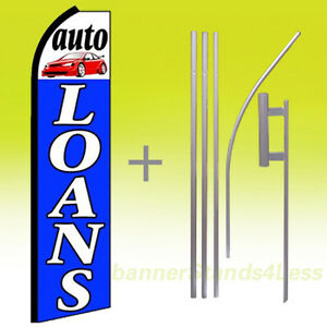 Auto Loans Swooper Flag Kit Feather Flutter Banner Sign 15 Set Bq