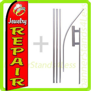 Jewelry Repair Swooper Flag Kit Feather Flutter Banner Sign 15 Set Rq