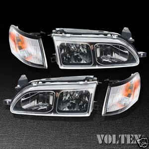 1993 1997 Toyota Corolla Set Of 2 Headlight Lamp Clear Lens Halogen