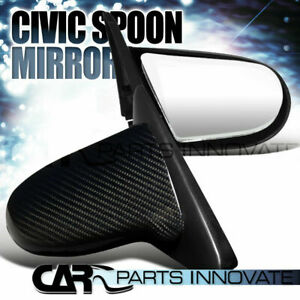 For 1996 2000 Honda Civic 2 3dr Real Carbon Jdm Spoon Manual Mirrors