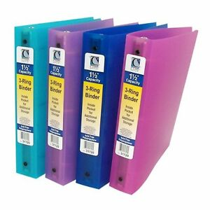 New C line Assorted 3 ring Poly 1 1 2 Capacity Binder 12 pk Free Shipping