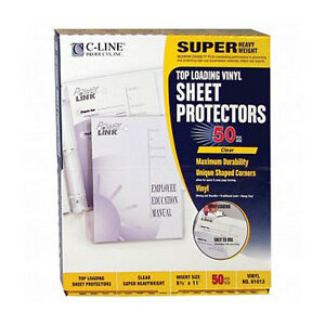 New C line Super Heavy Clear Vinyl Sheet Protectors 50pk Free Shipping