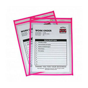 New C line Neon Pink 9 X 12 Stitched Shop Ticket Holders 15 bx