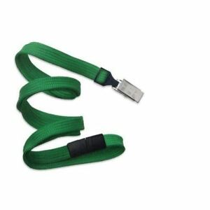 New Green Flat Braid Break away Lanyard With Bulldog Clip 100pk