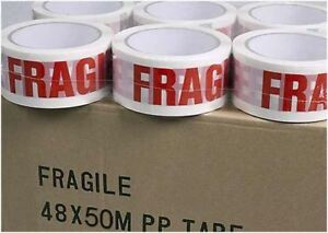 6 Rolls Printed Red Fragile Strong Adhesive Tape Packing Parcel White 48mm