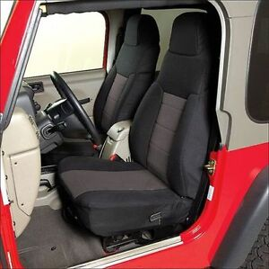 2003 2006 Jeep Wrangler Neoprene Front Rear Seat Covers Black With Gray Center