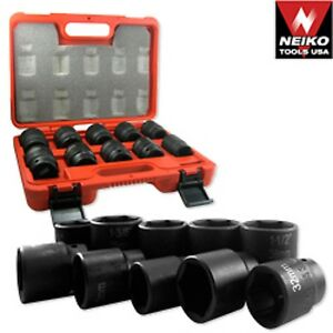 3 4 Dr Drive Black Impact Socket Wrench Tool Set Dual Size Metric And Sae