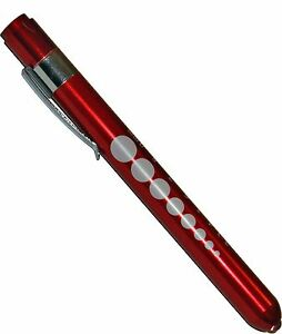 100 Professional Medical Diagnostic Penlights With Pupil Gauge Red