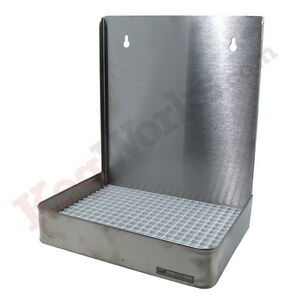 19 Wall Mount Drip Tray Stainless Steel With Drain Draft Beer Spill Catcher