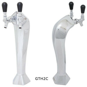 Gothic Draft Beer Chrome Tower Glycol Cooled 2 Taps Kegerator Home Bar Pub