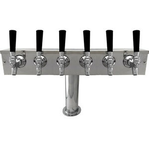 Stainless Steel Draft Beer Kegerator T tower 6 Faucets Commercial Bar System
